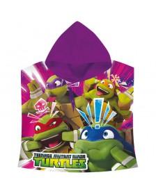 Poncho toalla Tortugas Ninja faces algodon