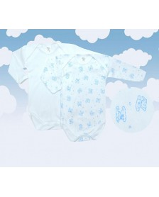 Body MONCAYO M/L algodón bebé 2 ud. Azul