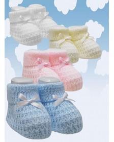 Patucos bebé perlé CREACIONES VISI lacito