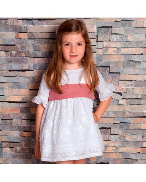 Vestido CUA CUAK bordado fajín 2760 niña