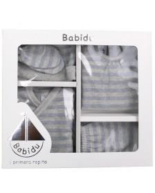Pack nacimiento BABIDU rayas bebé celeste
