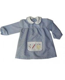 Baby Guardería Liso bolsillo bordado ALBER Azul