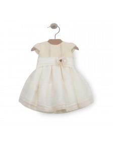 Vestido organza ANAVIG PIZPIRETA bebé niña 1025  Beige